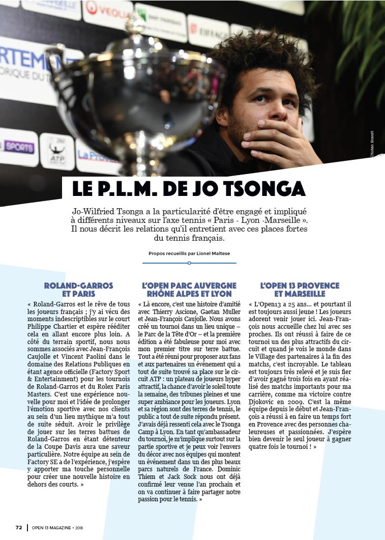 Le PLM de Jo Tsonga open 13